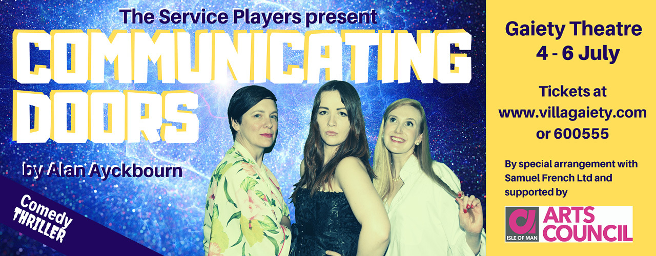 """banner image for The Service Players present """"Communicating Doors"""" by Alan Ayckbourn"""