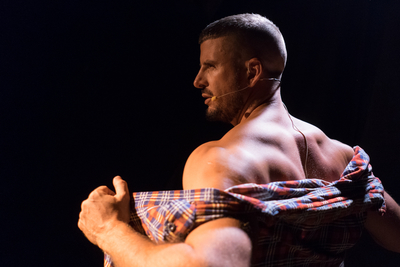Still from Riot Act of a man taking off his flannel shirt, Dublin Gay Theatre lineup 2020 image