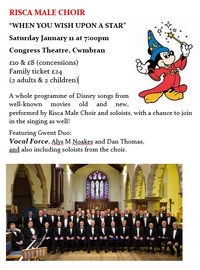"RISCA MALE CHOIR""WHEN YOU WISH UPON A STAR"" Poster"