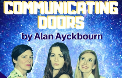 """image of The Service Players present """"Communicating Doors"""" by Alan Ayckbourn"""