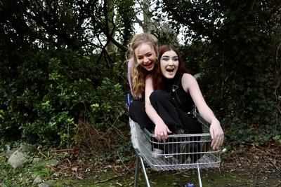 Image of two women in a shopping cart, a still from Trolley'd and Trouble Down South, which would have been part of Dublin Gay Theatre Festival 2020
